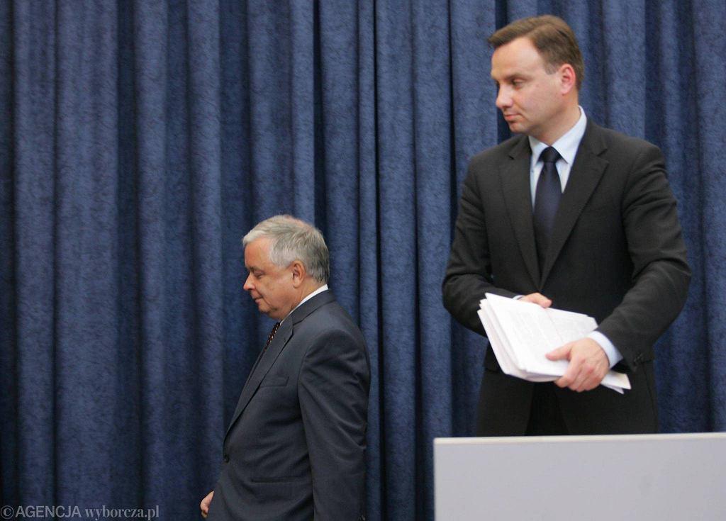 Prezydent Lech Kaczyński i jego prawnik Andrzej Duda
