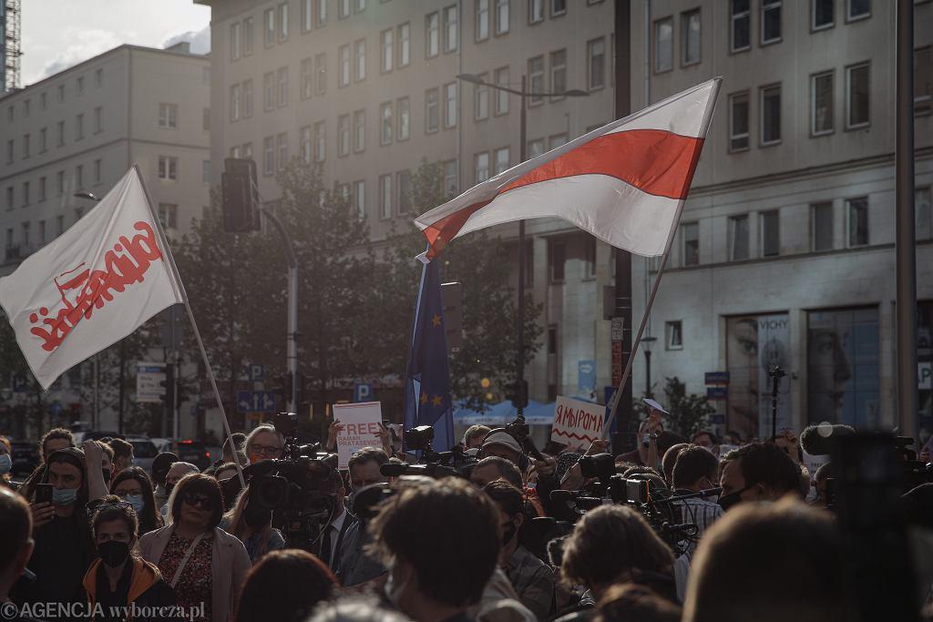 Protest w Warszawie po zatrzymaniu na Białorusi Romana Protasiewicza