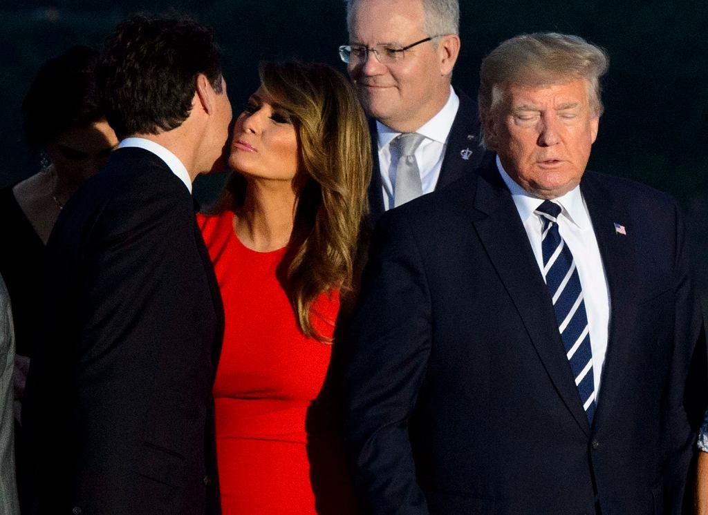 Justin Trudeau wita się z Melanią Trump na szczycie G7