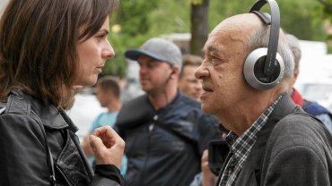 Plan filmu ''Smoleńsk''. Na zdjęciu aktorka Beata Fido i reżyser Antoni Krauze