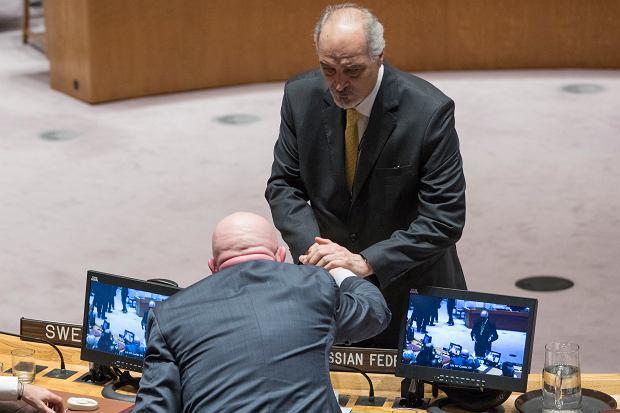 Rosyjski i Syryjski ambasador do ONZ na posiedzeniu Rady Bezpieczeństwa ws. masakry w Ghucie