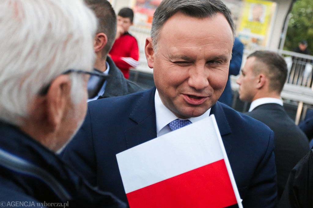 Prezydent RP Andrzej Duda podczas spotkania z mieszkańcami. Oświęcim, 4 października 2018