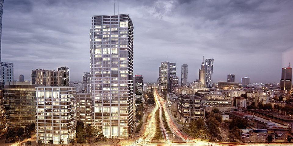 Wizualizacja 140-metrowego wieżowca powstającego w narożniku Prostej i Towarowej
