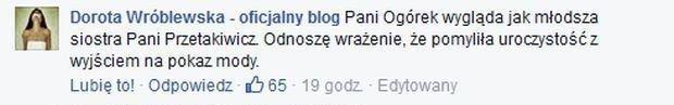 Komentarz Doroty Wróblewskiej
