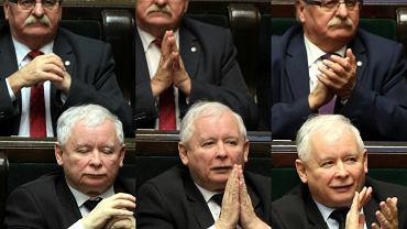 Leonard Krasulski i Jarosław Kaczyński w sejmowych ławach
