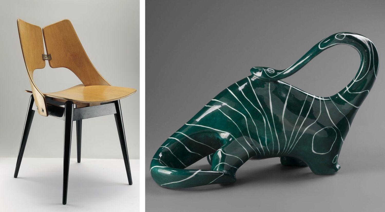 Krzesełko 'Płucka' Marii Chomentowskiej i 'Ichtiozaurus' Henryka Jędrasiaka (fot. cyfrowe.mnw.art.pl)
