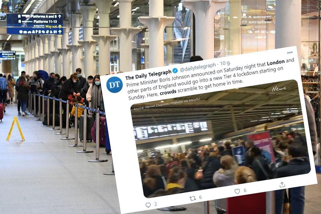 Tłumy na dworcach i lotniskach w Londynie