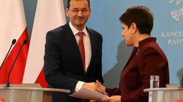 Premier Beata Szydlo i wicepremier Mateusz Morawiecki podczas konferencji