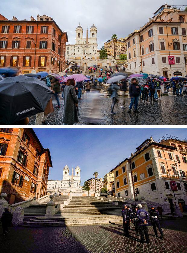 Hiszpańskie schody w Rzymie w listopadzie 2019 i marcu 2020