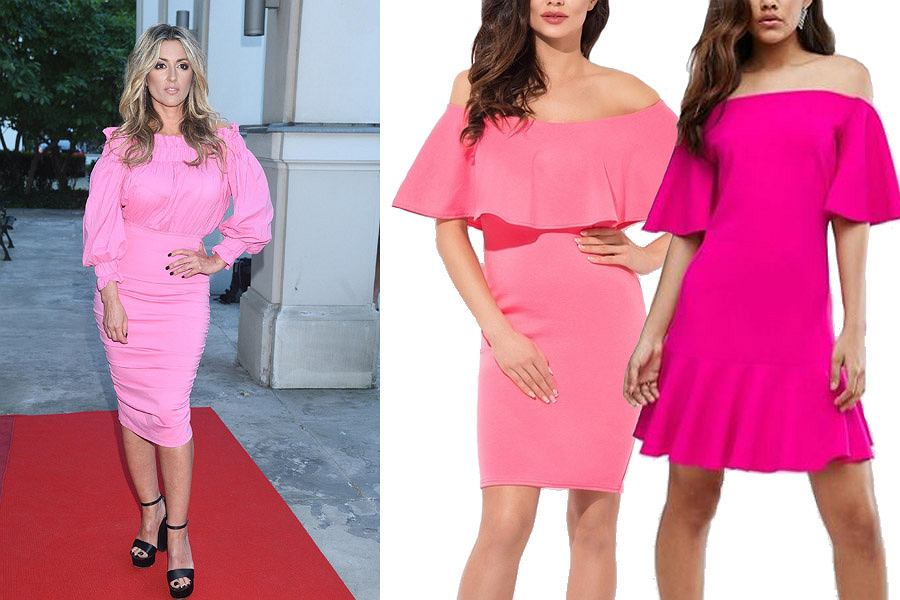 Kolaż, różowa sukienka