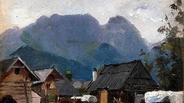 Alfonsa Kanigowska, 'Pejzaż wiejski z Giewontem', zbiory Muzeum Częstochowskiego