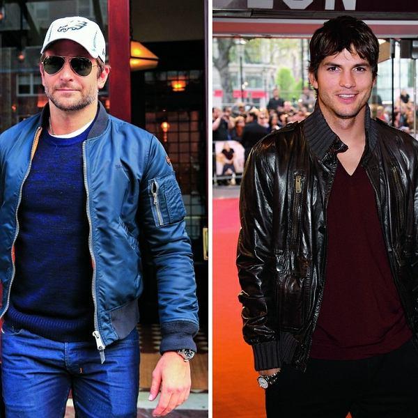 Za mundurem panny sznurem, tak samo, jak za celebrytą. A gwiazdy wyjątkowo chętnie noszą bomber jacket w różnych jej odmianach. Od lewej: Bradley Cooper i Ashton Kutcher