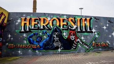 Oficjalne graffiti Mistrzostw Polski Heroes III, Plac Społeczny we Wrocławiu. Źródło: Facebook, 2020