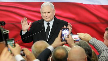 Prezes PiS Jarosław Kaczyński podczas wieczoru wyborczego w siedzibie PIS. Warszawa, 13.10.2019 r.