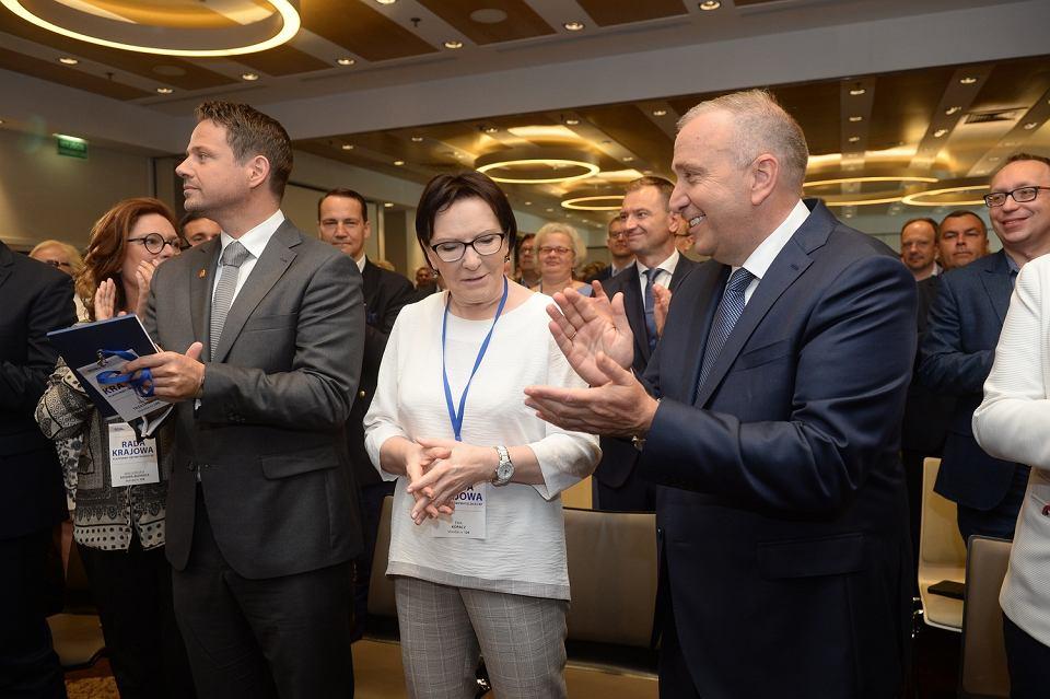 Rada Krajowa Platformy Obywatelskiej. Rafał Trzaskowski, Ewa Kopacz i Grzegorz Schetyna.