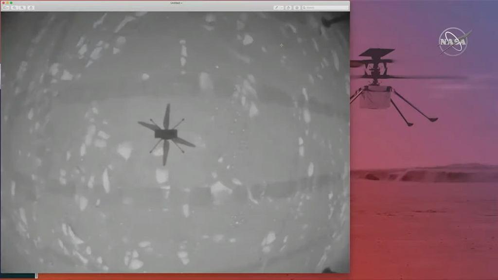 Cień drona Ingenuity podczas pierwszego w historii lotu na Marsa