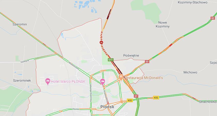 Wypadek na DK7 pod Płońskiem