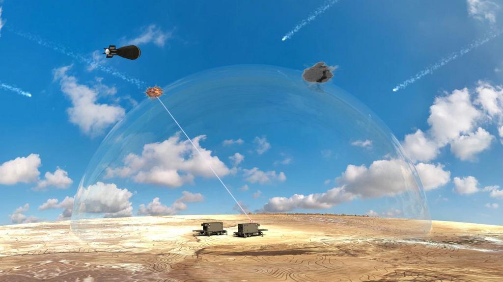 Bardzo ogólna grafika udostępniona przez ministerstwo obrony Izraela pokazująca system Iron Beam