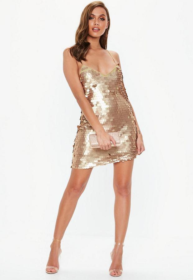 Złota sukienka z cekinami będzie idealna na wieczór