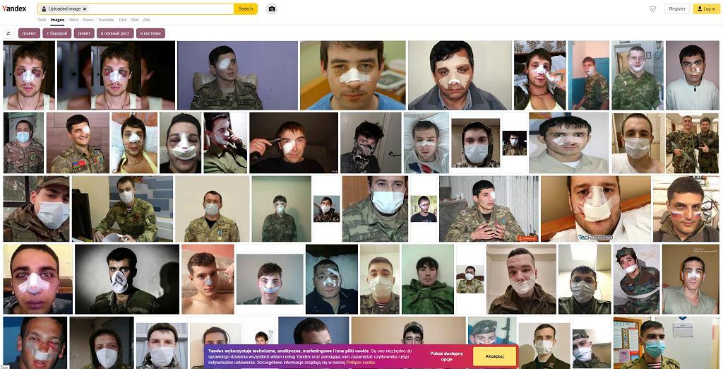 Wyszukiwarka Yandex nie zawodzi. Od razu znajduje 'żołnierza'