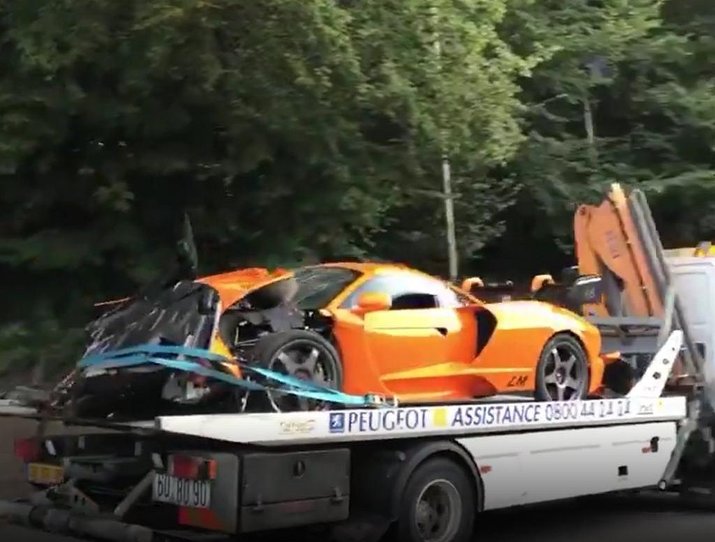 Rozbity samochód McLaren Senna LM Adriana Sutila