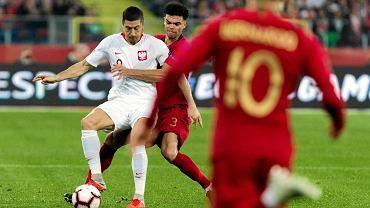 Robert Lewandowski na Stadionie Śląskim podczas meczu Polski z Portugalią w roku 2018