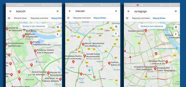 Symbole religijne w Google Maps