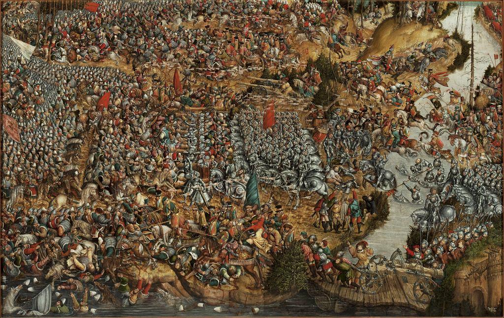 Obraz XVI-wiecznego anonimowego autora 'Bitwa pod Orszą' (1514 r.). U góry , po prawej stronie, widać oddział tatarski w białych czapkach z dowódcą w turbanie, do którego podjeżdża z uniesioną buławą wielki hetman litewski Konstanty Ostrogski