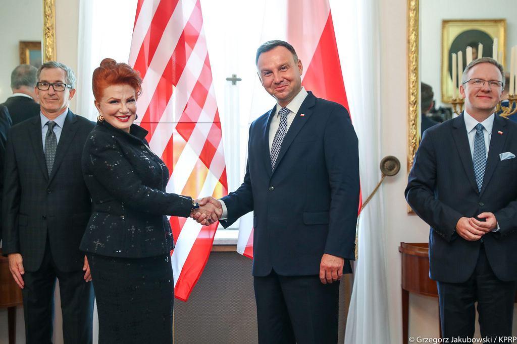 Georgette Mosbacher i Andrzej Duda