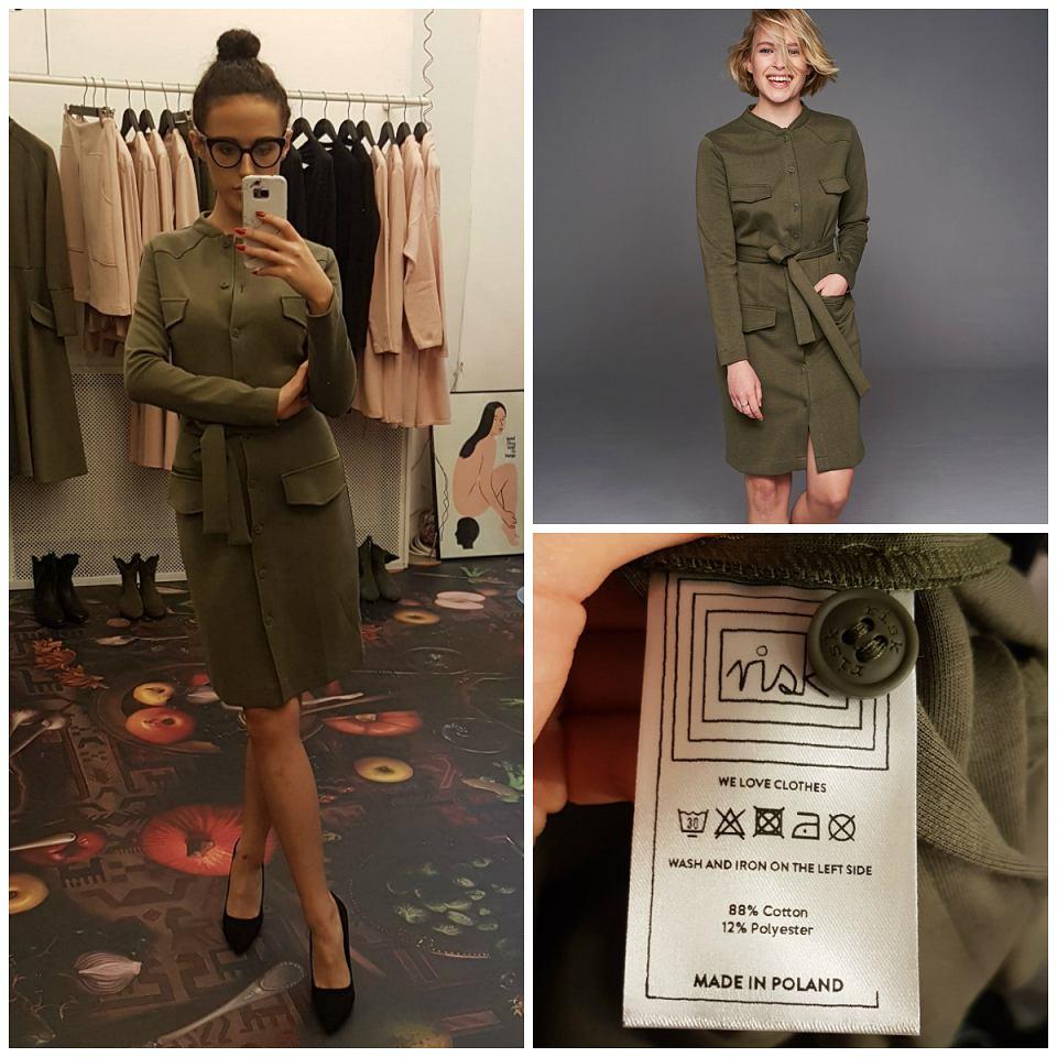 dopasowana sukienka khaki Risk Made in Warsaw