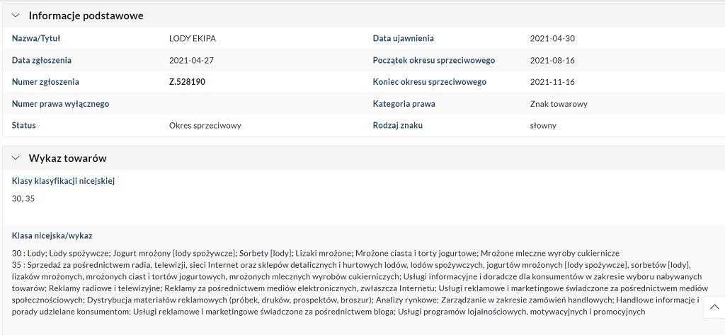 Zgłoszenie do urzędu patentowego zastrzeżenia nazwy 'Lody Ekipy'