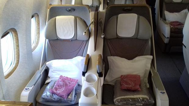 Fotele w klasie biznes w Emirates