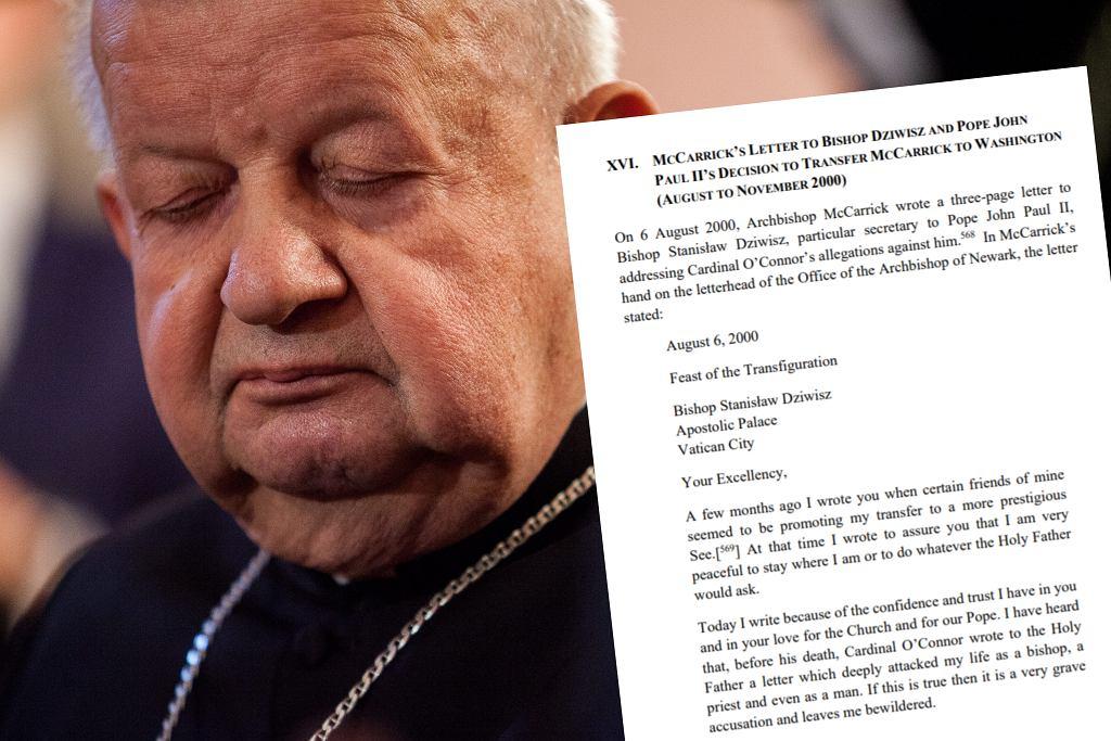Ujawniono treść listu wysłanego do kardynała Dziwisza przez Theodore'a McCarricka