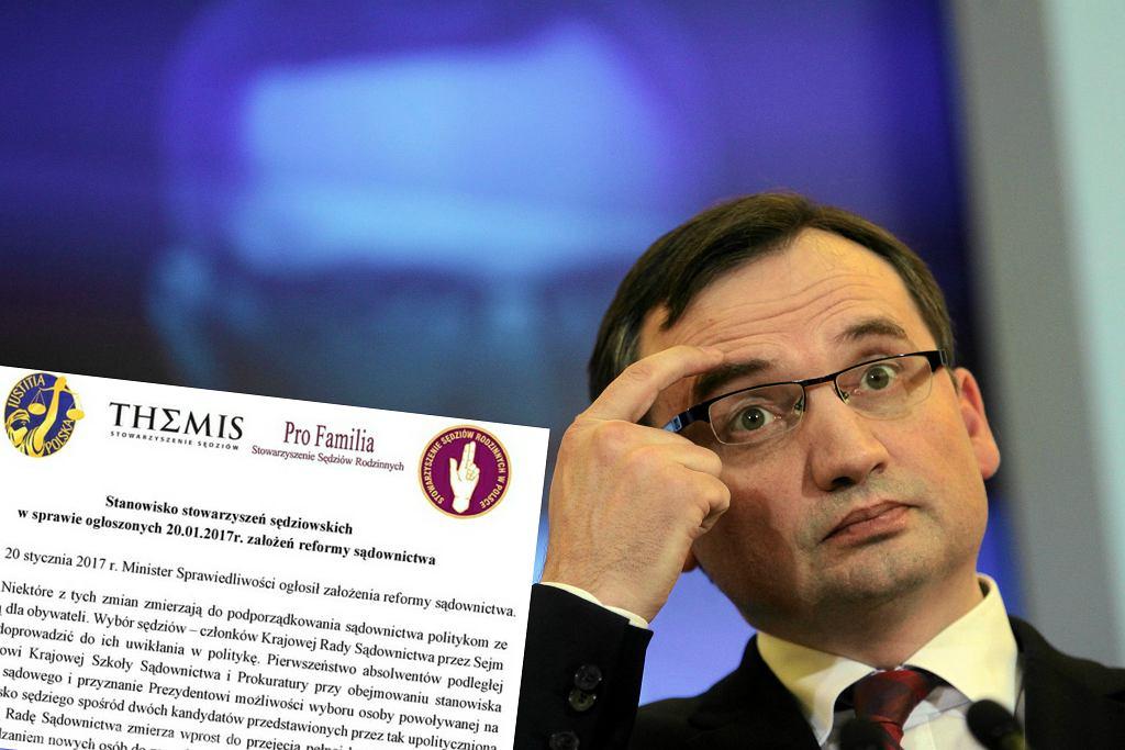 Zbigniew Ziobro i stanowisko stowarzyszeń sędziowskich
