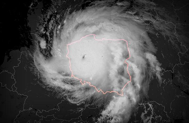 Tak huragan Irma wyglądałby na Polską