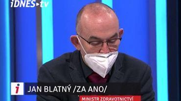 Jan Blatny, czeski minister zdrowia ogłasza luzowanie obostrzeń w Idnes.tv
