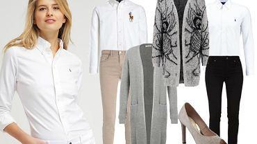 Biała koszula i kardigan