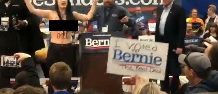 """USA. Nagie biusty i sztuczna krew na wiecu Berniego Sandersa. """"Śmierć nabiałowi"""""""