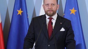 Minister zdrowie w rządzie PiS Łukasz Szumowski podczas konferencji dot. epidemii koronawirusa w Polsce. Warszawa, 13 marca 2020