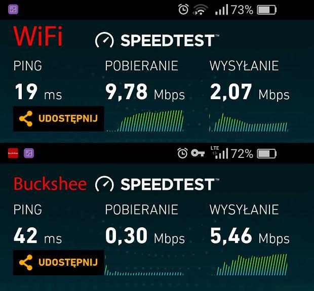Porównanie prędkości Wifi kontra Backshee