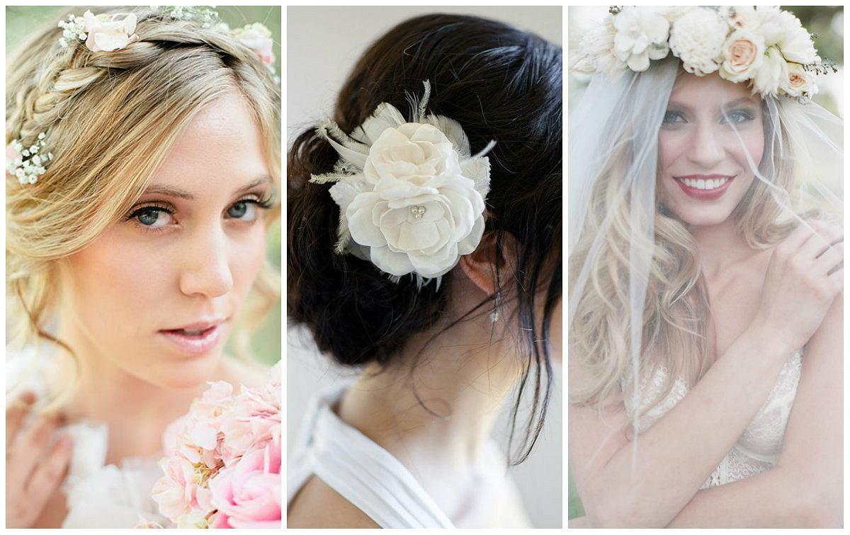 Fryzury ślubne Z Wykorzystaniem Kwiatów Galeria