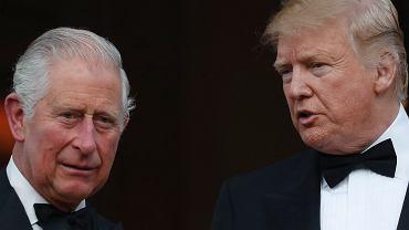 Donald Trump i książę Karol podczas oficjalnej wizyty prezydenta USA w Wielkiej Brytanii