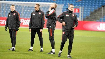 Gerard Juszczak (pierwszy z lewej) podczas treningu reprezentacji Polski w Poznaniu