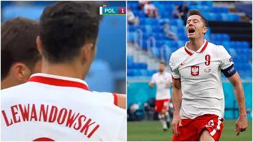 Robert Lewandowski w trakcie meczu Polska - Słowacja