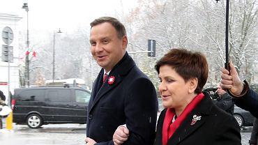 Prezydent Andrzej Duda i premier Beata Szydło podczas obchodów Święta Niepodległości
