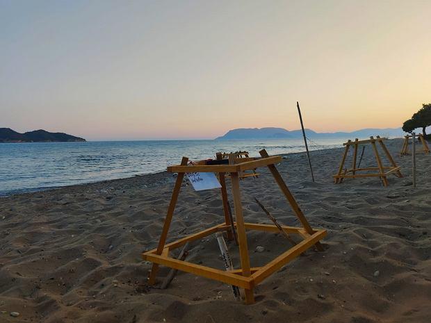 Miejsca lęgowe żółwi karetta na plaży Dafni.
