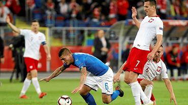Marco Verratti i Arkadiusz Milik podczas meczu w Lidze Narodów Polska - Włochy na Stadionie Śląskim