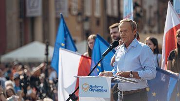 Wiec przewodniczącego PO Donalda Tuska w Gdańsku, 19 lipca 2021 r.