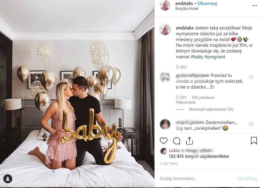 Andziaks, młoda youtuberka skrytykowana przez fanów. Według nich za wcześnie poinformowała o ciąży