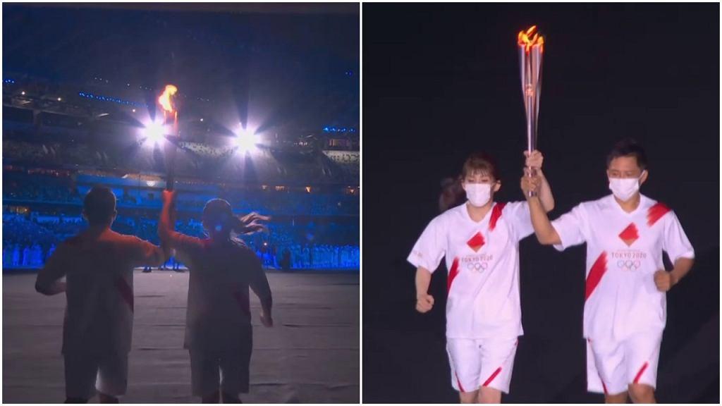 Ceremonia otwarcia igrzysk olimpijskich w Tokio. Sztafeta ze zniczem